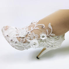 Women's Leatherette Spool Heel Peep Toe With Applique Crystal