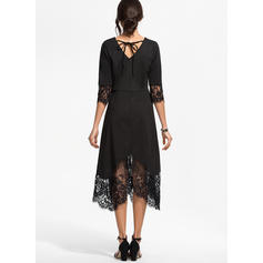 Lace/Solid 3/4 Sleeves A-line Skater Little Black/Elegant Midi Dresses