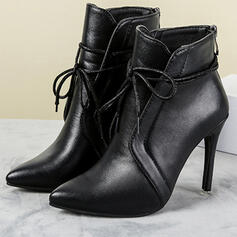 Women's PU Stiletto Heel Ankle Boots With Zipper Lace-up Solid Color shoes