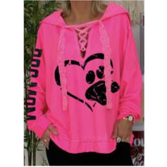 Print Heart Letter Lace Long Sleeves Hoodie