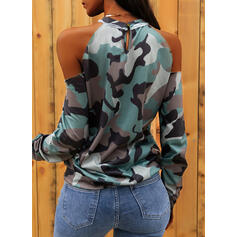 Print Cold Shoulder Long Sleeves Casual Sexy Blouses