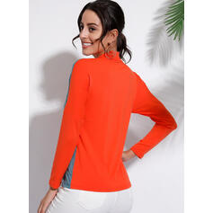 Color Block Stand collar Long Sleeves Casual T-shirts