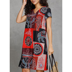 Print/Patchwork Short Sleeves Shift Knee Length Casual/Boho/Vacation T-shirt Dresses