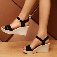 Women's PU Wedge Heel Sandals Platform Wedges With Buckle Hollow-out shoes