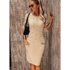 Solid Pocket Beaded Round Neck Casual Long Sweater Dress