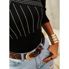 Solid Sequins Round Neck Long Sleeves Casual Blouses