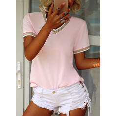 Solid V-Neck Short Sleeves Casual T-shirts