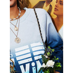 Print Figure Gradient Round Neck Long Sleeves Casual T-shirts
