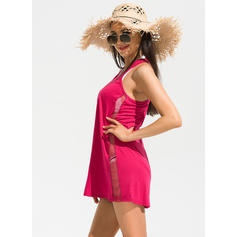 Solid Color Strap Elegant Plus Size Cover-ups Swimsuits