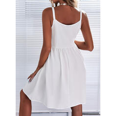 Lace/Solid Sleeveless A-line Above Knee Casual Skater Dresses