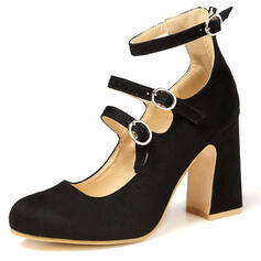 Women's PU Stiletto Heel Pumps Round Toe With Buckle Bandage shoes