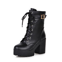 Women's PU Chunky Heel Pumps Boots Mid-Calf Boots With Lace-up shoes