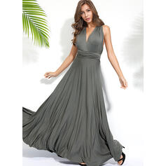 Solid Sleeveless A-line Sexy/Party Maxi Dresses