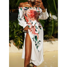 Print/Floral Long Sleeves A-line Skater Party Maxi Dresses