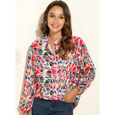 Geometric Print V-Neck Long Sleeves Button Up Casual Shirt Blouses