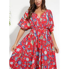 Print/Floral 1/2 Sleeves A-line Vintage/Casual/Boho/Vacation Maxi Dresses