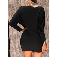 Solid Cotton Long Sleeves Sheath Above Knee Little Black/Casual Dresses