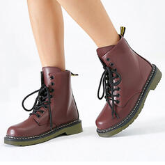 Women's Leatherette Low Heel Closed Toe Boots Martin Boots Round Toe With Lace-up shoes