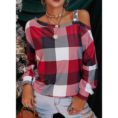 Sequins Plaid One-Shoulder Long Sleeves Casual Blouses