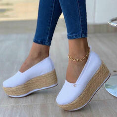 Women's Fabric Flat Heel Loafers With Braided Strap Solid Color shoes