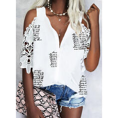 Print Lace Letter Cold Shoulder 1/2 Sleeves Button Up Casual Shirt Blouses