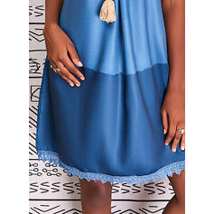 Lace/Color Block Short Sleeves Shift Knee Length Casual Tunic Dresses