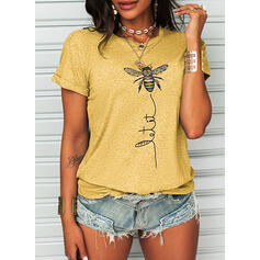 Animal Print Letter Cotton Round Neck Short Sleeves T-shirts