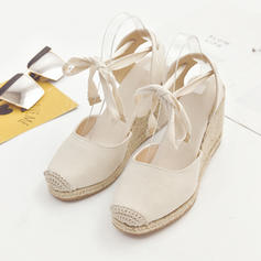Women's PU Wedge Heel Wedges With Lace-up shoes