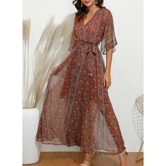 Print 3/4 Sleeves A-line Casual/Boho/Vacation Maxi Dresses