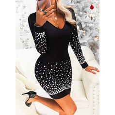 Print Long Sleeves Bodycon Above Knee Party Dresses