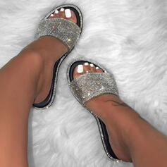 Women's PU Flat Heel Sandals Slippers With Rhinestone Sparkling Glitter shoes