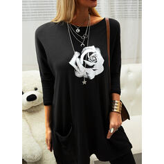 Print Floral Round Neck Long Sleeves Casual Blouses