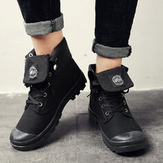 Women's Men's Canvas Flat Heel Ankle Boots With Lace-up shoes