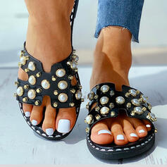 Women's PU Flat Heel Sandals Peep Toe With Imitation Pearl shoes