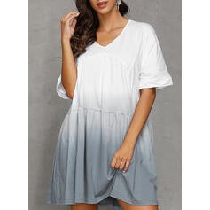 Color Block/Gradient Short Sleeves A-line Knee Length Casual/Vacation Dresses