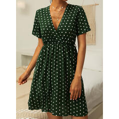 Print/PolkaDot Short Sleeves A-line Above Knee Casual Dresses