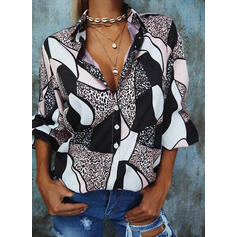 Leopard V-Neck 3/4 Sleeves Button Up Casual Shirt Blouses