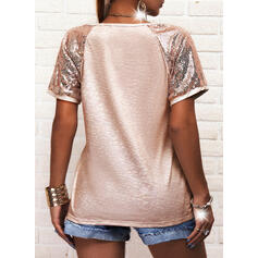 Print Sequins V-Neck Short Sleeves Casual Blouses