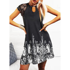 Lace/Print Short Sleeves Sheath Above Knee Casual/Vacation Dresses