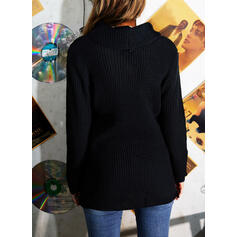 Solid Cowl Neck Casual Sweaters