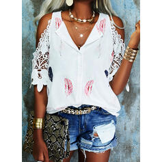 Print Feather Lace Cold Shoulder 1/2 Sleeves Casual Blouses