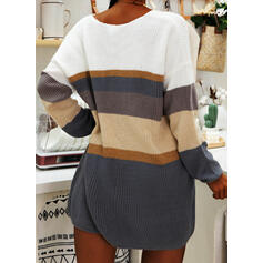 Color Block/Striped Long Sleeves Shift Above Knee Casual Sweater Dresses