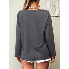 Print Letter Round Neck Long Sleeves Casual Blouses