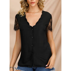 Solid V-Neck Short Sleeves Button Up Casual Elegant Blouses