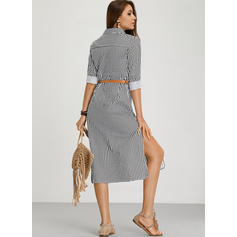 Striped 3/4 Sleeves A-line Shirt Casual/Vacation Midi Dresses