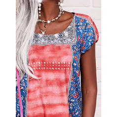 Print Patchwork Round Neck Short Sleeves Casual Blouses