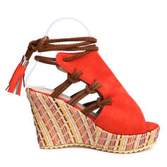 Women's Suede Wedge Heel Sandals Wedges With Lace-up shoes