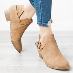 Women's PU Low Heel Ankle Boots Pointed Toe With Buckle Solid Color shoes