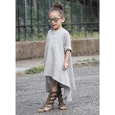 Girls Round Neck Solid Casual Dress