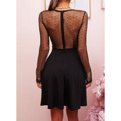 Solid Long Sleeves A-line Above Knee Little Black/Sexy Skater Dresses